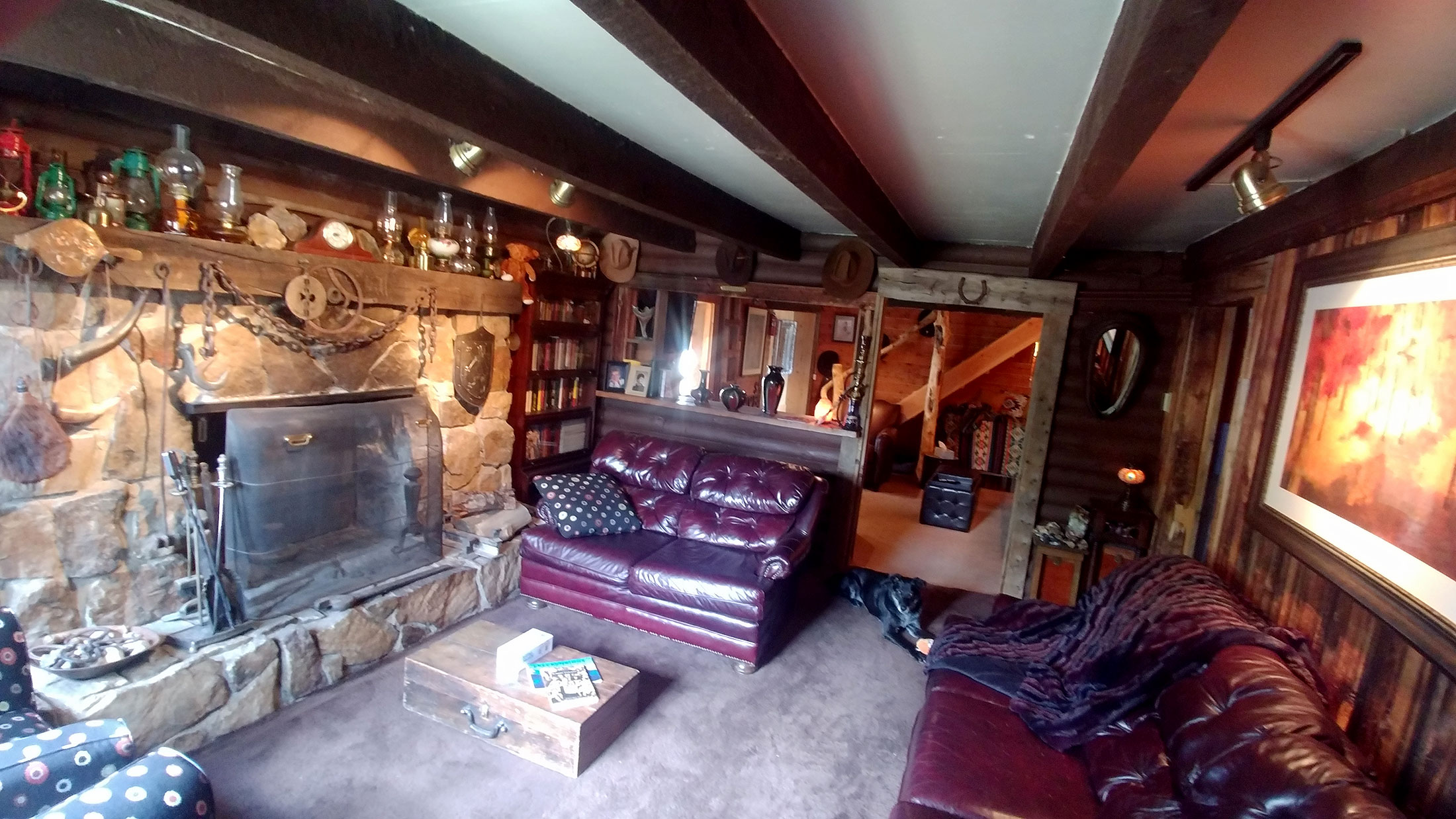 The fireplace room at the Bunk House Lodge in Breckenridge, Colorado.