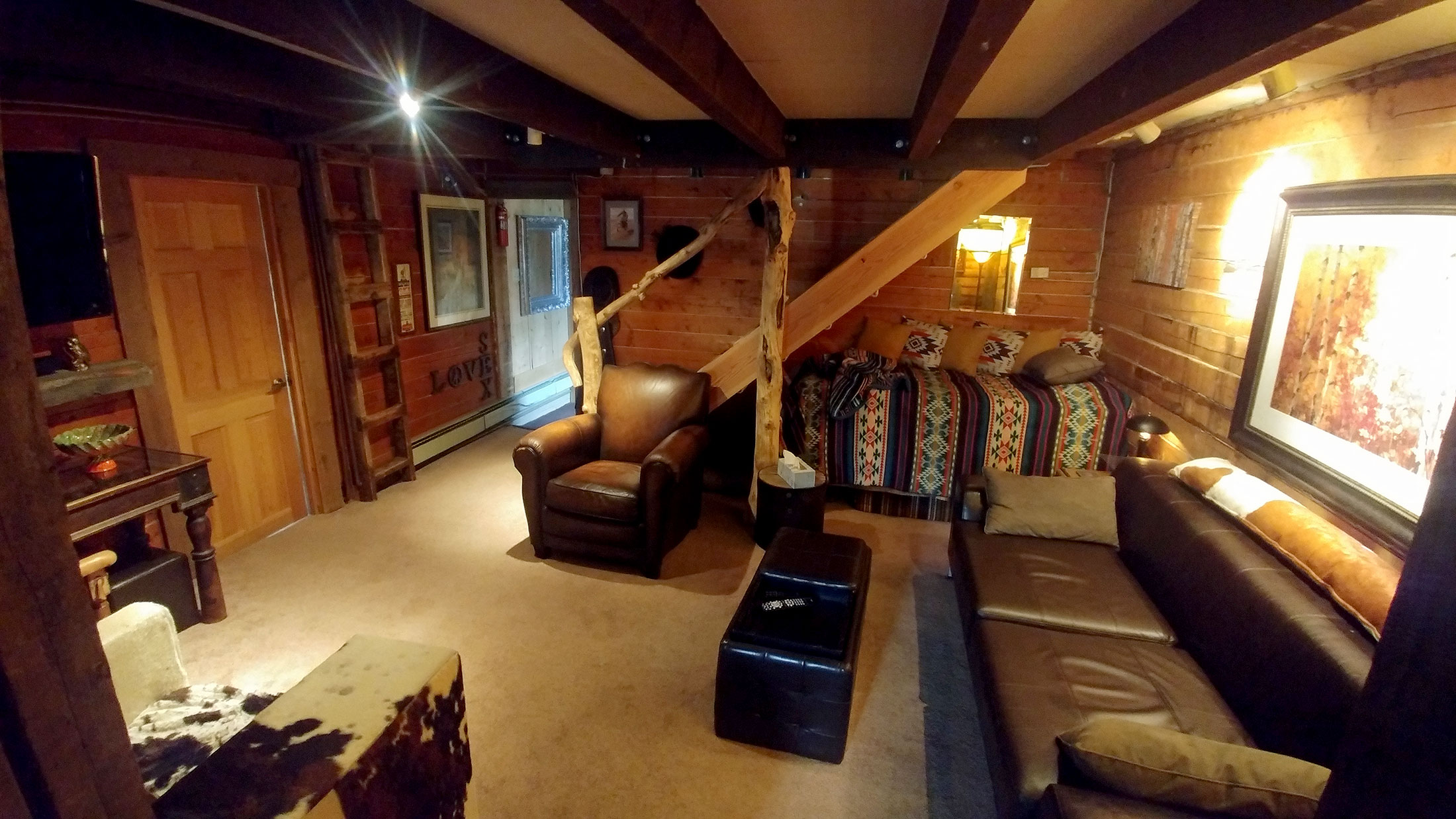 The living room at the Bunk House Lodge in Breckenridge, Colorado.